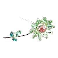 Weiss Long Stemmed Rhinestone Art Glass Flower Blossom Brooch Pin