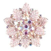 Juliana DeLizza Elster D & E Rhinestone Molded Art Glass Brooch Pin