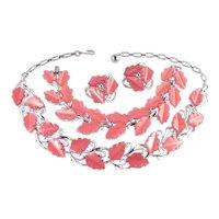 Lisner Thermoset Leaves Necklace Bracelet Earrings Parure Set