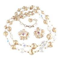 Lisner Crystal Glass Bead Metal Ball Necklace Earrings Demi Parure Set