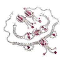 Rhinestone Necklace Bracelet Dangle Earrings Parure Set Rhodium Plate