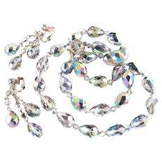 Judy Lee Watermelon Briolette Crystal Glass Bead Necklace Dangle Earrings Set
