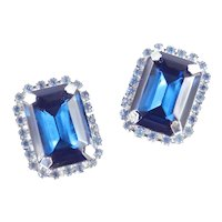Large Table Cut Sapphire Blue Rhinestone Earrings Rhodium Plate