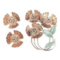 Hobé Rhinestone Enamel Wired Flower Brooch Pin Earrings Set