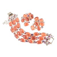 Selro Lucite Cabochon Rhinestone Bracelet Earrings Set