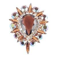 Juliana D & E Delizza Elster Art Glass Rhinestone Brooch Pin Pendant