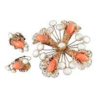 Hobé Filigree Lucite Bead Milk Glass Stone Brooch Pin Earrings Set