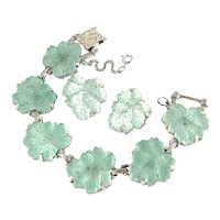 Judy Lee Iridescent Glass Rhinestone Leaves Bracelet Earrings Set