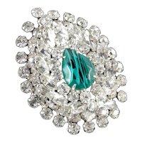 Juliana D & E DeLizza Elster Faux Flawed Emerald Rhinestone Brooch Pin Pendant