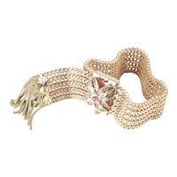 Victorian Revival Mesh Slide Fringe Bracelet Rauten Rose Montee Rhinestone Clasp