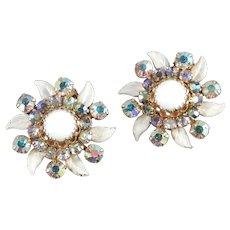 Weiss N.Y. Rhinestone Milk Glass Enamel Earrings