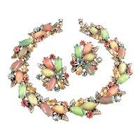 Signed ART Rhinestone Art Glass Cabochon Necklace Earrings Set