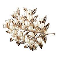 Trifari Faux Pearl Tree Leaf Brooch Pin