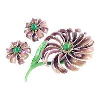 Enamel Rhinestone Flower Brooch Pin Earrings Set