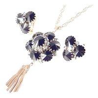 Rivoli Rhinestone Tassel Fringe Pendant Necklace Earrings Set