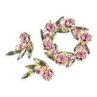 Rhinestone Flower Blossom Rosette Wreath Brooch Pin Earrings Set
