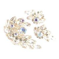 Rhinestone  Art Glass Brooch Pin Earrings Set