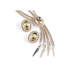 Watermelon Rivoli Rhinestone Fixed Bolo Lariat Necklace Earrings Set