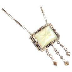 Art Deco Era Czechoslovakia Art Glass Rhinestone Fringe Necklace