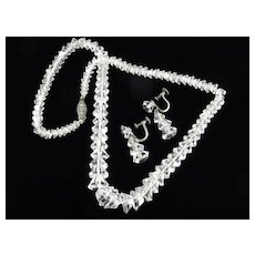 Art Deco Crystal Glass Bead Necklace Dangle Earrings Set Sterling Silver