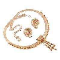 Mesh Coil Baguette Rhinestone Necklace Earrings Set