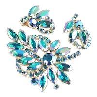 Weiss Rhinestone Brooch Pin Earrings Set