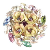 Iridescent Rhinestone Enamel Flower Blossom Brooch Pin