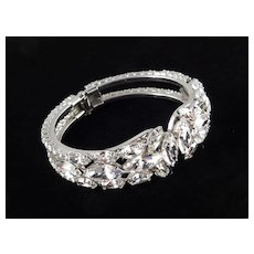 Rhinestone Hinged Cuff Clamper Bracelet
