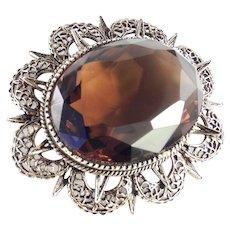 Signed ART Huge Topaz Glass Brooch Pin