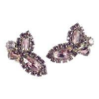 Weiss Rhinestone Art Glass Cabochon Climber Earrings
