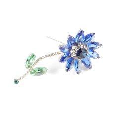Weiss Long Stemmed Rhinestone Art Glass Flower Brooch Pin