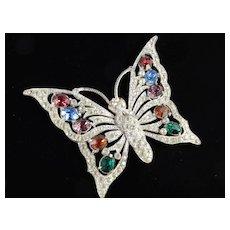 Art Deco Era Large Rhinestone Butterfly Brooch Pin Pot Metal