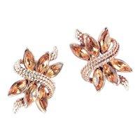Coro Wheat Sheaf Rhinestone Earrings