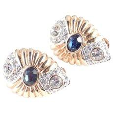 Nolan Miller Faux Sapphire Rhinestone Clam Shell Earrings