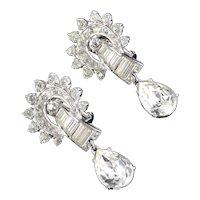Ora Rhinestone Baguette Earrings Briolette Drop Dangle Rhodium Plate