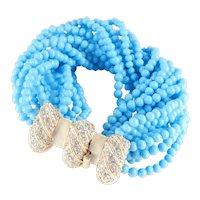 Early K.J.L. Kenneth Lane Turquoise Colored Bead Torsade Enamel Rhinestone Bracelet