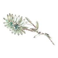 Long Stemmed Rhinestone Art Glass Cabochon Flower Blossom Brooch Pin