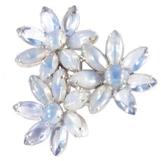 Opalescent Translucent Art Glass Cabochon Brooch Pin