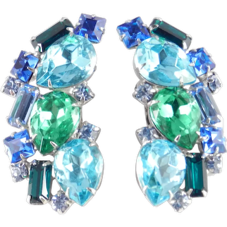 Rhinestone Crescent Climber Earrings
