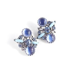Selro Rhinestone Iridescent Cabochon Faux Turquoise Earrings