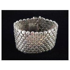 Wide Heavy Sterling Silver DIsk Link Bracelet