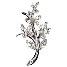 Trifari Alfred Philippe Rhinestone Star Flower Brooch Pin