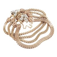 Miriam Haskell Box Chain Link Faux Seed Pearl Bracelet