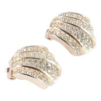 Christian Dior Rhinestone Clam Shell Earrings