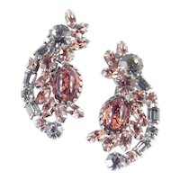Weiss Rhinestone Faux Amber Cabochon Crescent Climber Earrings