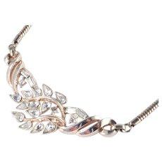 Trifari 1950s Rhinestone Necklace Cobra Snake Chain