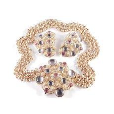 José Maria Barrera Avon Rhinestone Iridescent Cabochon Necklace Earrings Set