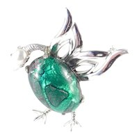 Weiss Foiled Cabochon Faux Pearl Duck Bird Figural Brooch Pin