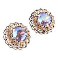 Weiss Large Domed Dentelle Rhinestone Earrings