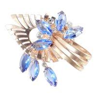 Art Moderne Art Glass Rhinestone Brooch Pin Pendant